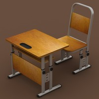 3d model adjustable school desk