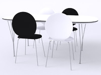 modern table chairs 3d 3ds