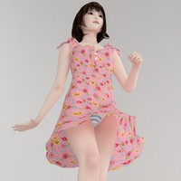 3d model japanese girl mariko dress