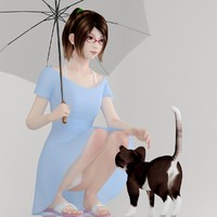 japanese girl natsumi blue 3d model
