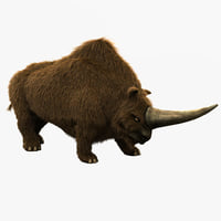 3d model elasmotherium pose 1 fur