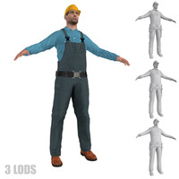 worker lod s man 3d model