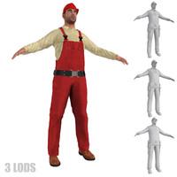 3d model worker lod s