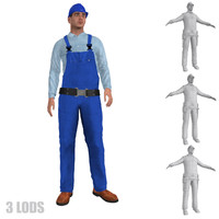 3d model rigged worker lod s