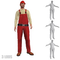 3d rigged worker lod s