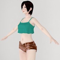 3d model t-pose girl rina short