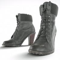 obj black heel boots