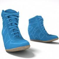 blue wedge boot 3d 3ds
