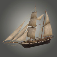 3d schooner halcon model