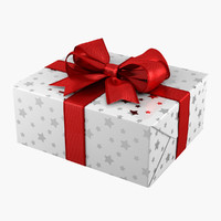 gift box white 3d obj