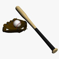3d model real base ball bat