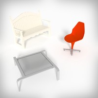 3ds max chair bench table