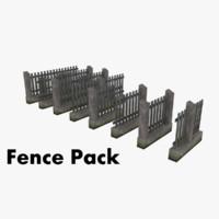 3d model modular fence pack