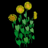 3d model sunflowers uv-unwrapped