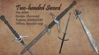 two-handed sword obj free