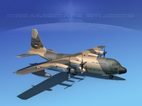 cargo lockheed c-130 hercules air 3d model