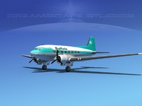 3ds max dc-3 airliners douglas