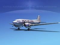 dc-3 airliners douglas 3d model
