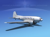 3d model of dc-3 airliners douglas