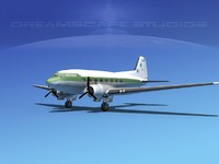 3d model dc-3 airliners douglas