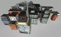3d grunge city building pack model