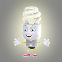 3d cartoon energy saving model