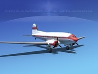 dc-3 propellers douglas 3d model