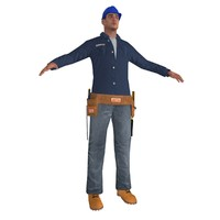 3d model worker man tool