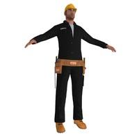 3d worker man tool model