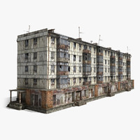 3ds max abandoned 5-storey panel house
