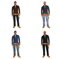 rigged workers man 3d model