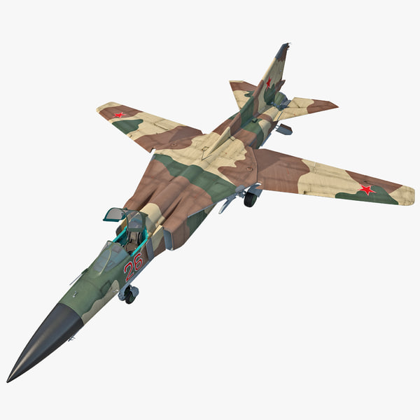 Fighter Aircraft Mig-23 Rigged Mikoyan-Gurevich Mikoyan Gurevich flogger variable geometry soviet ground attack vray plane