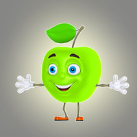 maya cartoon apple