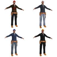 worker man tool 3d model