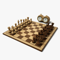 minimal chess set hd 3d model