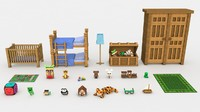 minecraft childrens room 3d model