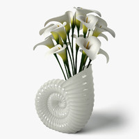 3ds calla shell vase