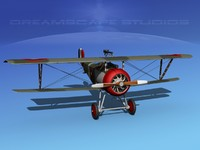 3d high-poly nieuport 17 fighter aircraft