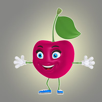 3d cool cartoon cherry