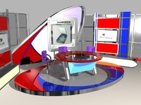 free virtual sets news studio 3d model