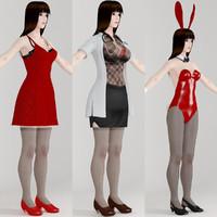 3d model t-pose girl akari various