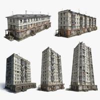 3d model abandoned soviet panel houses