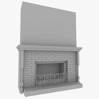 3d model of realistic fireplace v1
