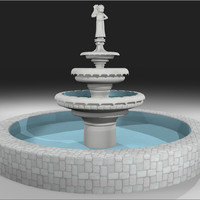 3d model fountain cherub