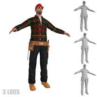 3d worker lods model