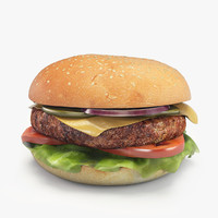 3d max hamburger patty cheese