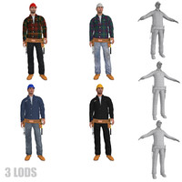pack rigged workers s 3d max
