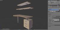 desk drawers shelf 3d max