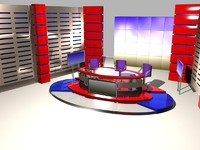 3d sets news studio model