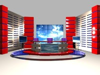 sets news studio 3d model